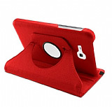 Samsung Galaxy Tab 3 Lite 7.0 360 Derece Döner Standlı Kırmızı Deri Kılıf
