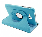 Samsung Galaxy Tab 3 Lite 7.0 360 Derece Döner Standlı Mavi Deri Kılıf