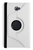 Samsung Galaxy Tab A 2016 T580 Derece Döner Standlı Beyaz Deri Kılıf