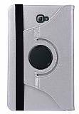 Samsung T580 Galaxy Tab A 10.1 2016 360 Derece Döner Standlı Silver Deri Kılıf