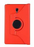 Samsung Galaxy Tab A T590 10.5 360 Derece Döner Standlı Kırmızı Deri Kılıf
