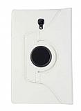 Samsung Galaxy Tab A T590 10.5 360 Derece Döner Standlı Beyaz Deri Kılıf