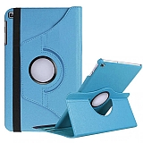 Samsung Galaxy Tab A7 Lite T225 360 Derece Döner Standlı Mavi Deri Kılıf