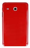 Samsung Galaxy Tab E 8.0 T377 Şeffaf Kırmızı Silikon Kılıf