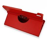 Samsung Galaxy Tab S7 FE LTE T737 360 Derece Döner Standlı Kırmızı Deri Kılıf
