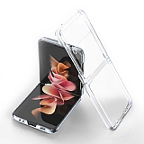 Samsung Galaxy Z Flip3 5G Metal Kenarlı Cam Şeffaf Kılıf