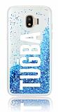 Samsung Grand Prime Pro J250F Kişiye Özel Simli Sulu Mavi Rubber Kılıf
