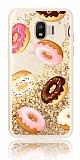 Samsung Grand Prime Pro J250F Simli Sulu Donut Resimli Gold Silikon Kılıf