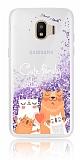 Samsung Grand Prime Pro J250F Simli Sulu Kedi Ailesi Resimli Mor Silikon Kılıf