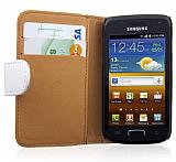 Samsung i8150 Galaxy W Cüzdanlı Beyaz Deri Kılıf