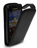 Samsung i8150 Galaxy W Kapaklı Siyah Deri Kılıf