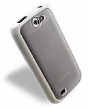 Samsung i8150 Galaxy W Silikon Kenarl� �effaf Beyaz Sert Mat Rubber K�l�f