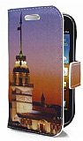 Samsung i8160 Galaxy Ace 2 K�z Kulesi Standl� C�zdanl� Deri K�l�f
