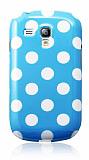 Samsung i8190 Galaxy S 3 Mini Beyaz Puantiyeli Mavi Silikon Kılıf