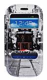 Samsung i8190 Galaxy S3 Mini Gizli M�knat�sl� �ift Pencereli Taksim Deri K�l�f