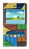Samsung i8190 Galaxy S3 mini Prizma Desenli Pencereli �nce Yan Kapakl� Deri K�l�f