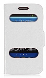 Samsung i8190 Galaxy S3 mini Standlı Pencereli Beyaz Deri Kılıf