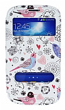 Samsung i9082 Galaxy Grand / i9060 Grand Neo Gizli M�knat�sl� �ift Pencereli Bird Deri K�l�f