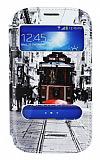 Samsung i9082 Galaxy Grand / i9060 Grand Neo Gizli M�knat�sl� �ift Pencereli Taksim Deri K�l�f