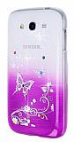 Samsung i9082 Galaxy Grand / i9060 Grand Neo Ta�l� Mor Kelebek Silikon K�l�f