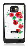 Samsung i9100 Galaxy S 2 Ta�l� K�rm�z� �i�ekli Silikon K�l�f