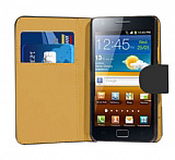 Samsung i9100 Galaxy S 2 Siyah Yan C�zdanl� K�l�f