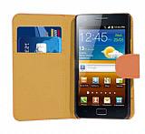 Samsung i9100 Galaxy S 2 Turuncu Yan C�zdanl� K�l�f
