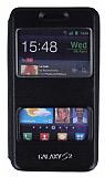Samsung i9100 Galaxy S2 �ift Pencereli �nce Yan Kapakl� Siyah Deri K�l�f