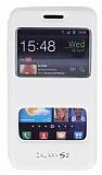 Samsung i9100 Galaxy S2 �ift Pencereli �nce Yan Kapakl� Beyaz Deri K�l�f