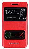 Samsung i9100 Galaxy S2 �ift Pencereli �nce Yan Kapakl� K�rm�z� Deri K�l�f