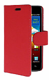 Samsung i9100 Galaxy S2 Standl� C�zdanl� K�rm�z� Deri K�l�f