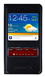 Samsung i9100 Galaxy S2 Pencereli �nce Kapakl� Siyah K�l�f