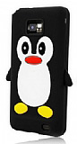 Samsung i9100 Galaxy S2 Penguen Siyah Silikon K�l�f