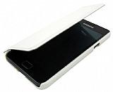 Samsung i9100 Galaxy S2 Standl� Kapakl� Beyaz Deri K�l�f