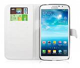 Samsung i9200 Galaxy Mega 6.3 Cüzdanlı Beyaz Deri Kılıf