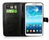 Samsung i9200 Galaxy Mega 6.3 Cüzdanlı Siyah Deri Kılıf