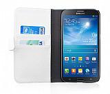 Samsung i9200 Galaxy Mega 6.3 Cüzdanlı Standlı Beyaz Deri Kılıf
