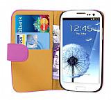 Samsung Galaxy S3 / S3 Neo Pembe Yan C�zdanl� K�l�f Deri K�l�f