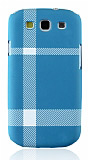 Samsung Galaxy S3 / S3 Neo Mat Mavi Beyaz Ekose Sert Rubber Kılıf