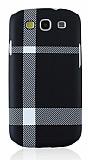 Samsung Galaxy S3 / S3 Neo Mat Siyah Beyaz Ekose Sert Rubber Kılıf