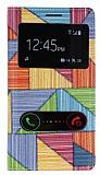 Samsung i9300 Galaxy S3 Prizma Desenli Pencereli �nce Yan Kapakl� Deri K�l�f