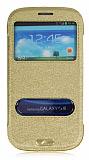 Samsung i9300 Galaxy S3 Standl� Pencereli Gold Deri K�l�f