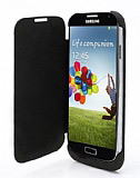 Samsung i9500 Galaxy S4 Bataryalı Kapaklı Siyah Kılıf