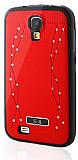 Samsung i9500 Galaxy S4 Dalgalı Taşlı Kırmızı Silikon Kılıf
