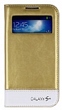 Eiroo Samsung i9500 Galaxy S4 Gizli M�knat�sl� Pencereli Gold Deri K�l�f