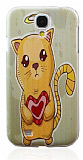 Samsung i9500 Galaxy S4 Heart Cat Kedi Sert Rubber K�l�f