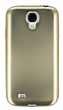 Samsung i9500 Galaxy S4 Metalik Gold Silikon Kılıf