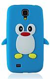 Samsung i9500 Galaxy S4 Penguen Mavi Silikon Kılıf