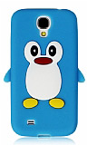 Samsung i9500 Galaxy S4 Penguen Mavi Silikon K�l�f