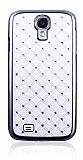 Samsung i9500 Galaxy S4 Ekose Ta�l� Sert Mat Beyaz Rubber K�l�f